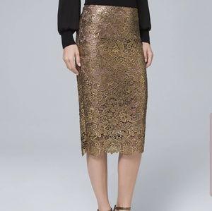 NWOT Gold Metalic-Lace Pencil Skirt